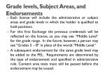 grade levels subject areas and endorsements