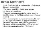 initial certificate