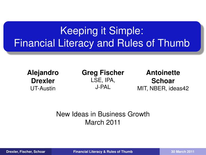 keeping it simple financial literacy and rules of thumb n.