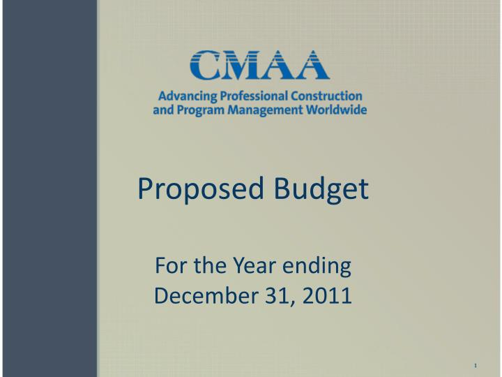 proposed budget for the year ending december 31 2011 n.
