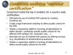 conditions enabling national certification