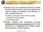 reasons for certification