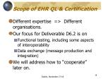 scope of ehr ql certification