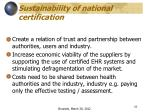 sustainability of national certification