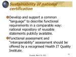 sustainability of national certification1