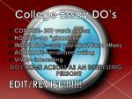 college essay do s