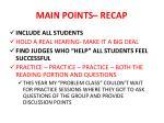 main points recap