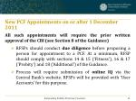 new pcf appointments on or after 1 december 2011