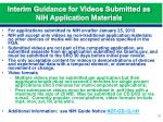 interim guidance for videos submitted as nih application materials