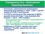 transparency act subrecipient reporting reminder