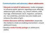 communication and advocacy about adolescents