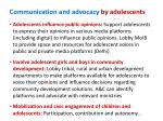 communication and advocacy by adolescents