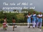 the role of a c in programming for and with adolescents