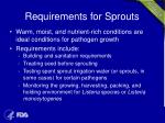 requirements for sprouts