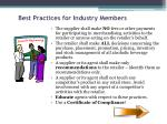 best practices for industry members