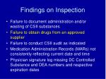 findings on inspection