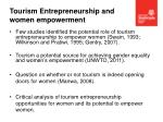 tourism entrepreneurship and women empowerment