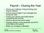 payroll closing the year