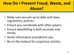 how do i prevent fraud waste and abuse