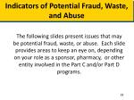 indicators of potential fraud waste and abuse1