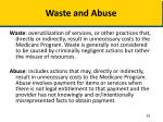 waste and abuse
