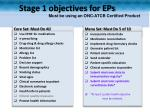 stage 1 objectives for eps