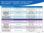 new accounts payable contact center information grocery and snacks