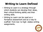 writing to learn defined