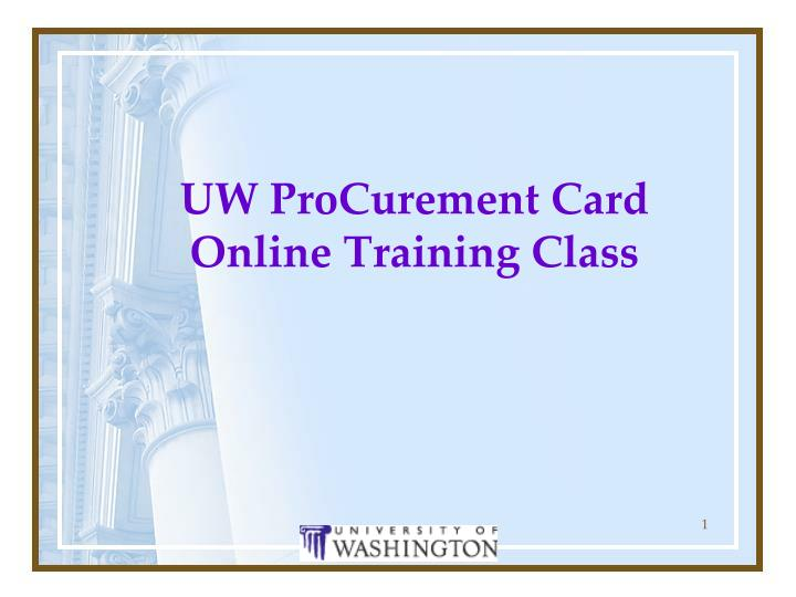 uw procurement card online training class n.