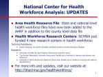 national center for health workforce analysis updates
