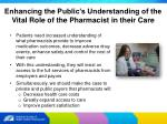 enhancing the public s understanding of the vital role of the pharmacist in their care
