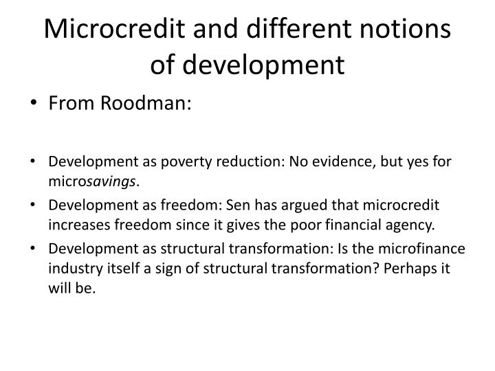 Microcredit and different notions of development
