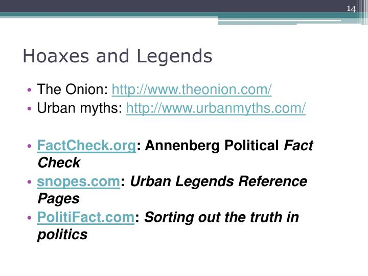Hoaxes and Legends