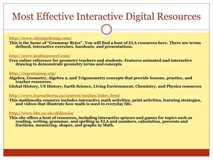 Most Effective Interactive Digital Resources