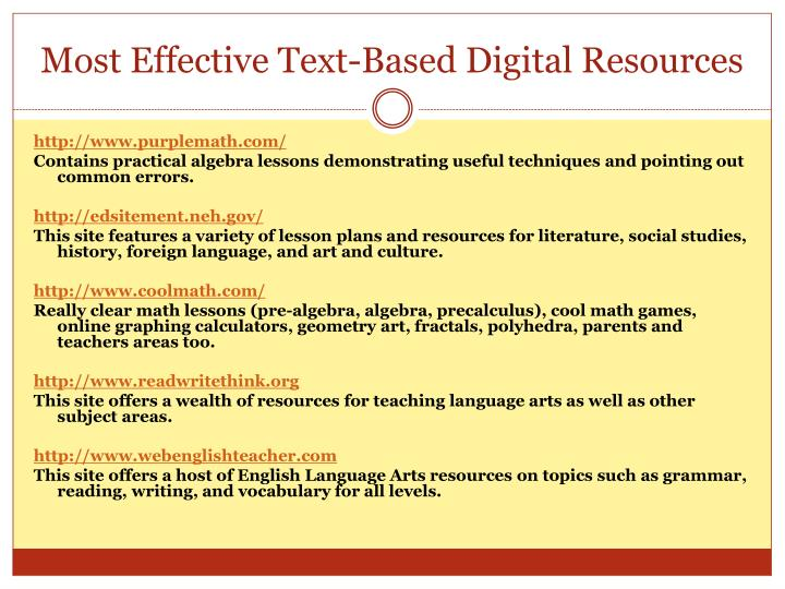 Most Effective Text-Based Digital Resources