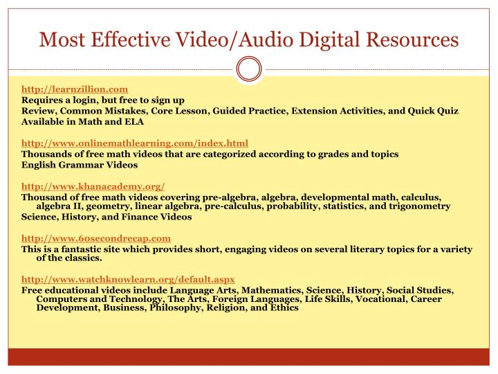 Most Effective Video/Audio Digital Resources