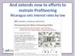 and extends now to efforts to restrain profiteering nicaragua sets interest rates by law