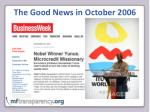 the good news in october 2006