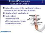 expand performance evaluation criteria