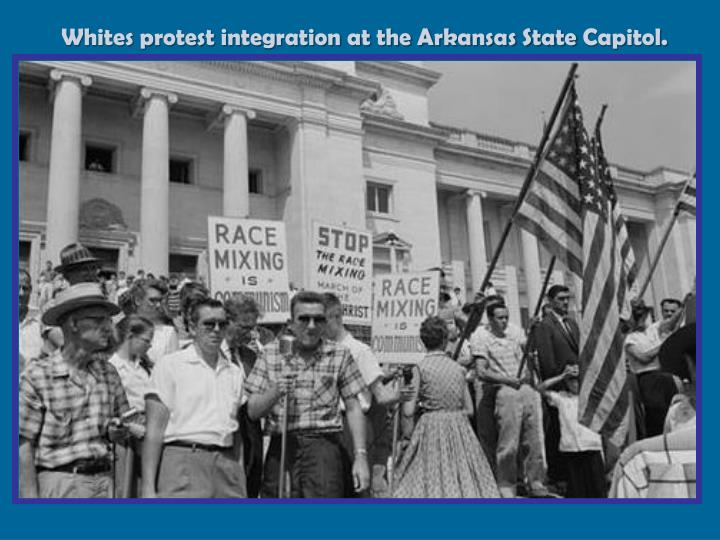 Whites protest integration at the Arkansas State