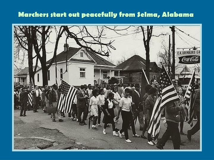 Marchers start out peacefully from Selma, Alabama