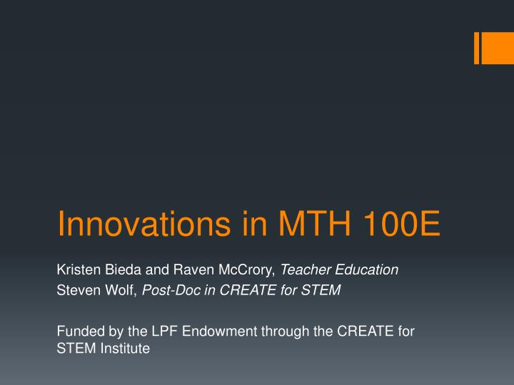 innovations in mth 100e n.