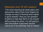 reflections from te 407 students1