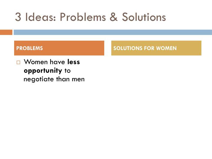 3 Ideas: Problems & Solutions