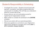 student s responsibility in scheduling