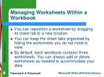 managing worksheets within a workbook