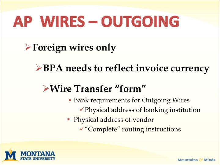 AP  WIRES – OUTGOING