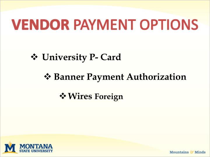 Vendor payment options