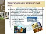 requirements your employer must meet