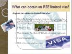 who can obtain an rse limited visa